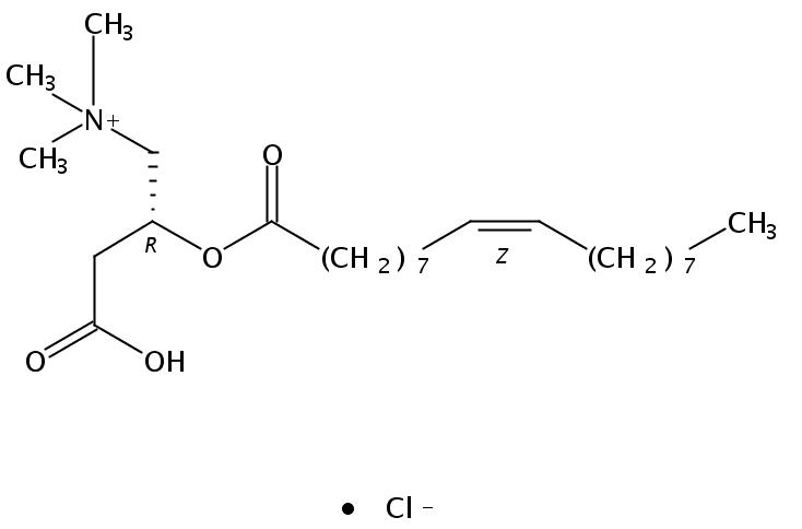 Structural formula of 9(Z)-Octadecenoyl-L-Carnitine HCl salt