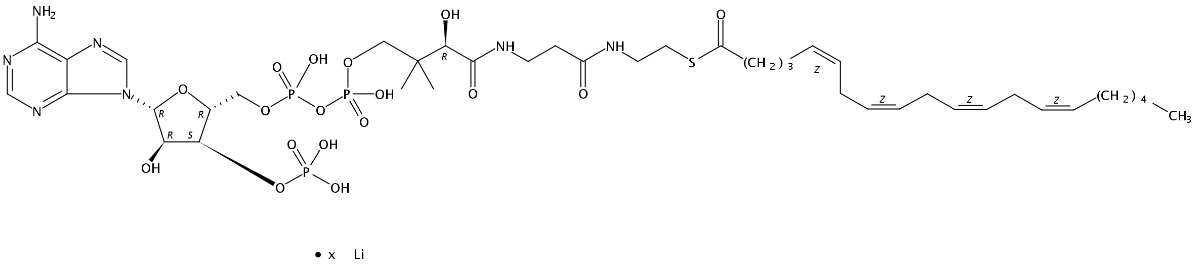 Structural formula of 5(Z),8(Z),11(Z),14(Z)-Eicosatetraenoyl Coenzyme A Li salt