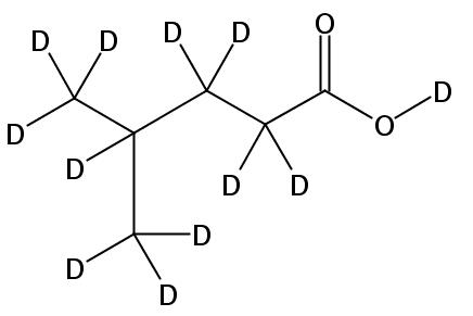 Structural formula of 4-Methylpentanoic-D12 acid