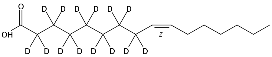 Structural formula of Palmitoleic-2,2,3,3,4,4,5,5,6,6,7,7,8,8-D14 acid