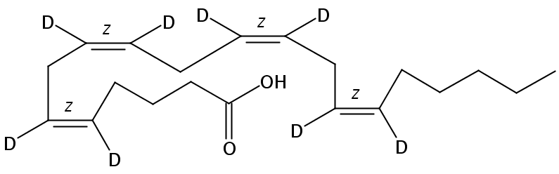Structural formula of arachidonic-5,6,8,9,11,12,14,15-D8 acid